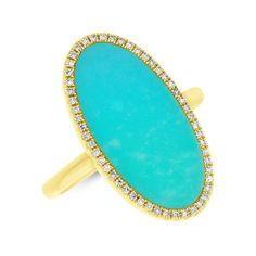 2.52tcw 14K Yellow Gold Oval Shape Turquoise & Diamond Cocktail Right Hand Ring #SageDesignsLA #Cocktail