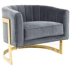Art Deco Styled Armchair with Brass Frame ($1,765) ❤ liked on Polyvore featuring home, furniture, chairs, accent chairs, tufted chair, charcoal chair, art deco armchairs, tufted armchair and tufted furniture