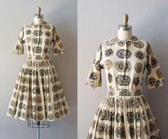 vintage 50s dress / linen 1950s dress set / Cardinal by DearGolden, $88.00