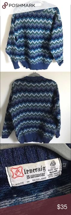 """Vtg Scotland wool sweater chevron Glencraig blue Vtg Glencraig Men's 100% Wool Sweater in a marked SZ 42. Here are the measurements when the jacket is lying flat:   Chest measures 24"""" across from armpit-to-armpit  Shoulder measures 21"""" across  Arm length measures 24""""  Length from base of neck to hem measures 29""""  From the center of collar to the end of arm measures 35""""  Made in Scotland, this sweater is blue color with a Nordic chevron design with varying shades of blue. It is in great…"""