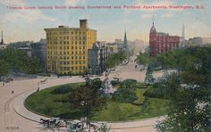 An early 1900s aerial postcard view of Thomas Circle.