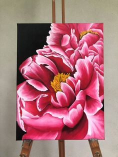 Original Floral Painting by Roxana Fistoc Multi Canvas Painting, Big Canvas Art, Abstract Painting Techniques, Easy Flower Painting, Acrylic Painting Flowers, Flower Canvas, Flower Art, Realistic Flower Drawing, Lotus Art