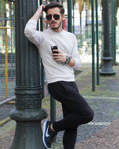 Outfit Men, Fashion Men, Men Style, Zara, sweatpants, sweater, Nike Flex, white shoes - www.rodrigoperek.com