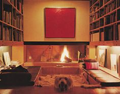 1970s Sunken living room with built in fireplace