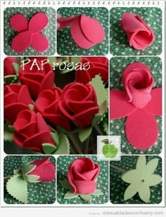 DIY flowers with foam sheetsRosas goma eva - Little Foam Rose buds.How to make a foamy rose.roses in fomi but you can use felt as wellto ] Great to own a Ray-Ban sunglasses as summer gift.Fashion and Vintage styles. Foam Sheet Crafts, Foam Crafts, Diy And Crafts, Crafts For Kids, Paper Crafts, Craft Foam, Crafts With Foam Sheets, Felt Flowers, Diy Flowers