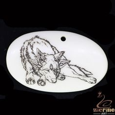 Cool Pendant Natural Scrimshaw  Carved Hand Painted Wolf ZL20831 #ZL #Pendant