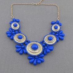 Blue necklace flower necklace statement necklace by AnnyJewelry, $15.90