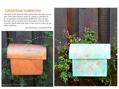 You can get a verdigris effect using a paint effect on metal objects and surfaces. I've had lots of fun recently adding verdigris touches in my garden – including giving a quick makeover to our boring old letterbox. Easy Projects, Craft Projects, Copper, Brass, Cool Magazine, Paint Effects, Upcycled Crafts, Step Guide, Planter Pots