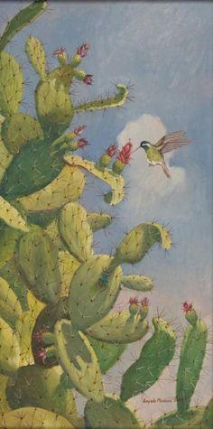 Obra de arte: Nopales y Colibrí Artistas y arte. Artistas de la tierra PINNED by My Art y Lezama