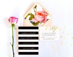 Featuring bold black-and-white stripes and gradated gold lettering, this contemporary wedding invitation is tucked into a blush envelope with a lush floral-print liner, making it a perfect suite for the modern romantic!