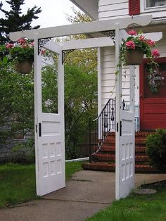 another great use for old doors - we definitely have a couple lying around!