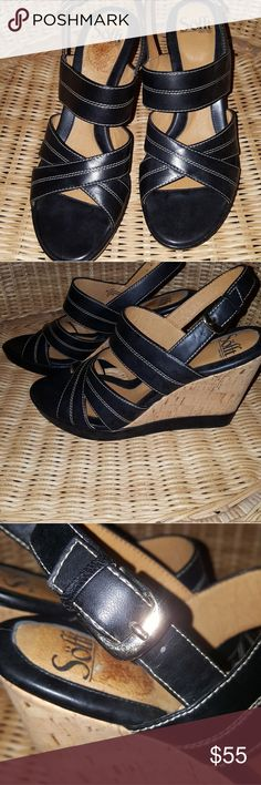 "NWB Sofft Petrella Black Wedge Sandal Loved this one so much I bought 2! My first pair have held up so well, I don't need these.  Very comfortable sandal, buckle closure, 4-1/4"" wedge heel, gold flakes in cork heel. Sofft Shoes Sandals"