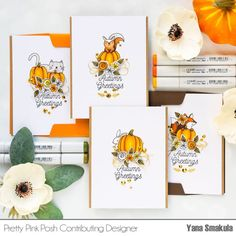 This is Yana Smakula and I'm thrilled to be sharing a set of easy to make Fall cards featuring Pumpkin Patch Critters stamps. The Pumpkin Patch Critters stamp set feat… Greeting Card Video, Greeting Cards, Pumpkin Cards, Pretty Pink Posh, Diy Cards, Handmade Cards, Thanksgiving Cards, Fall Cards, Autumn Theme