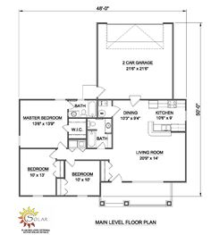 First Floor Plan of Ranch   House Plan 94384