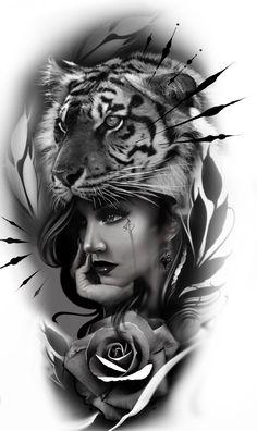 Dope Tattoos, Body Art Tattoos, Girl Tattoos, Sleeve Tattoos, Lion And Rose Tattoo, Lion Tattoo, Tattoo Arm Designs, Wolf Tattoo Design, Tattoo Sketches