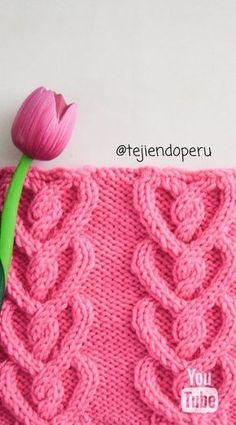 Love Knitting Patterns, Knitted Heart Pattern, Stitch Patterns, Cable Knitting, Knitting Stitches, Free Knitting, Crochet Videos, Diy Crochet, Lana