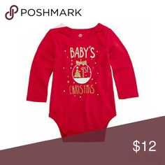 Babies 1st Christmas Outfit - NWT NWT. 2pc Outfit. Okie Dokie Long Sleeve Red Babies 1st Christmas Onesie. And Okie dokie  Leggings Shirts & Tops Tees - Long Sleeve