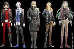 Amnesia - The guys. Left to right: Shin, Ikki, Kent, Toma, and Ukyo Amnesia Otome Game, Amnesia Ukyo, Amnesia Shin, Amnesia Memories, Dating Sim Game, Animes To Watch, Blue Exorcist, Manga Boy, Manga Games