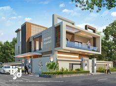HS3D Visualization Pvt. Ltd. Modern Exterior House Designs, Bungalow Exterior, Modern House Plans, Cool House Designs, Modern House Design, 3 Storey House Design, Duplex House Design, House Front Design, Contemporary Architecture