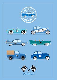 Vintage Car Racing Club A4 Print by MylesArtprints on Etsy, £9.99