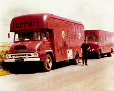 Old Ferrari race transporters, I guess from the and UK. Le Mans, Car Carrier, Automobile, Car Trailer, Ferrari F1, Vintage Race Car, Commercial Vehicle, Car And Driver, Classic Trucks