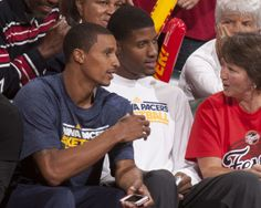 George Hill and Paul George of the @Indiana Pacers support the Fever during the Eastern Conference Semi-Finals at Bankers Life Fieldhouse.