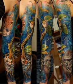 Colored realistic full sleeve tattoo - A vintage natural picture of aquatic plants and animals, lion and guerrilla