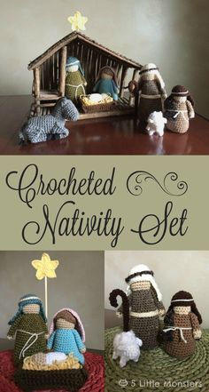 Free pattern for a crocheted nativity set including Mary, Joseph, Baby Jesus in a manger, a star, 2 shepherds, a sheep, and a donkey