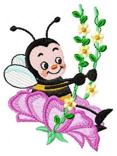 Cartoon Towel Embroidery, Cute Embroidery, Types Of Embroidery, Applique Embroidery Designs, Free Machine Embroidery Designs, Janome, Bee Design, Pattern Design, Acropolis