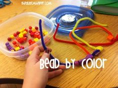 Stringing Beads by Color {Fine Motor Work Task} by theautismhelper.com.