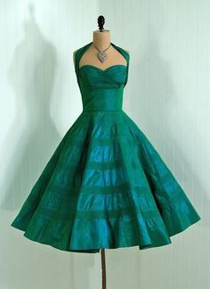 Vintage 1950's teal dress by Fred Perlberg