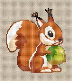 Cute Squirrel cross stitch pattern