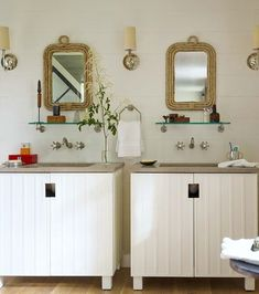 Set of Two Rope Bathroom Mirrors... http://www.completely-coastal.com/2016/09/decorative-bathroom-mirrors-coastal.html