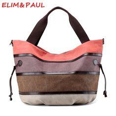 ELIM&PAUL Canvas Bag Woman Hand bags Designers Brand Luxury Handbags Women Bags Designer Striped High Quality Ladies Hand bags  #Affiliate