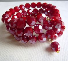 Cranberry Layers Rich Red Bracelet Holiday Jewelry by 3pearls