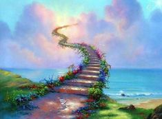 """How would I ever love my enemies as Jesus commands? Part 15 and the conclusion of the series """"Stairway to Heaven."""" Stairway to Heaven - 15 Led Zeppelin, Jim Warren, Heaven Painting, Heaven Art, Dog Heaven, Past Life Regression, Regression Therapy, Surrealism Painting, Rainbow Bridge"""