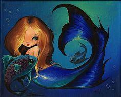 Art: Mermaid and Fish by Artist Nico Niemi