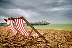 Attraction - The great British sea side Brighton Rock, Brighton England, Seaside Beach, Beach Huts, Outdoor Chairs, Deck Chairs, Outdoor Decor, Culture Of England, Before I Sleep