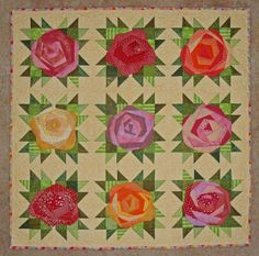 Jersey Girl quilt with rose block ~ paper-piecing with HST's Patchwork Quilt, Scrappy Quilts, Mini Quilts, Crazy Patchwork, Paper Piecing, Quilting Projects, Quilting Designs, Flower Quilts, Patch Aplique