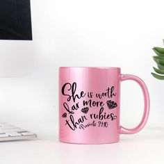 She is Worth Far More Than Rubies Coffee Mug for Women Christian Gifts for Women Proverbs 31 Woman Pink Coffee Mugs, Coffee Cups, Mr Mrs Mugs, More Precious Than Rubies, Christian Gifts For Women, Custom Cups, Knowing Your Worth, Metallic Pink, Proverbs 31