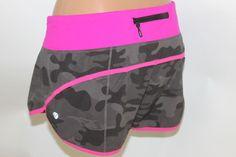 LULULEMON gray camo shorts with pink band sz 6 #Lululemon #Shorts