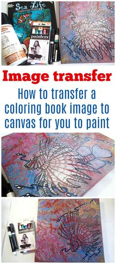 Image transfer. How to transfer a coloring book image onto canvas for you to color or paint it.