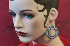 Silver teal boho hoop earrings - kikulu vintage jewellery and handmade jewellery Vintage Jewellery, Handmade Jewellery, Vintage Costume Jewelry, Vintage Costumes, Bead Sewing, Seed Beads, Teal, Hoop Earrings, Boho