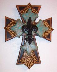 Leopard/fleur Cross...have a leopard cross kinda like this in my bathroom!