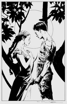 """Jae Lee Dark Tower Roland Deschain and Susan Delgado Commission, in Alkis Vlachos's Jae Lee - B&W Art Comic Art Gallery Room - 588287"" on SHIFT + CLICK"