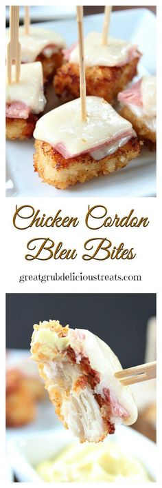 Chicken Cordon Bleu Bites ~ These crispy, crunchy bites of deliciousness make a great tasty appetizer. Chicken Cordon Bleu Bites ~ These crispy, crunchy bites of deliciousness make a great tasty appetizer. Finger Food Appetizers, Yummy Appetizers, Appetizers For Party, Appetizer Recipes, Snack Recipes, Cooking Recipes, Parties Food, Appetizer Ideas, Christmas Appetizers