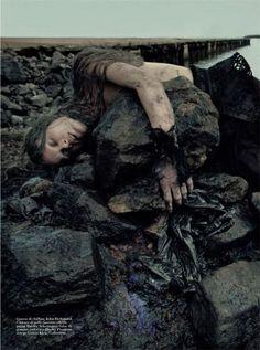 BP oil spill themed shoot, Vogue Italia