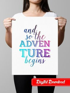 Typography Art Poster and so the adventure by OfflinePrintables Team Page, And So The Adventure Begins, Typography Quotes, Quote Prints, Printable Wall Art, Starwars, Promotion, Suit, Digital