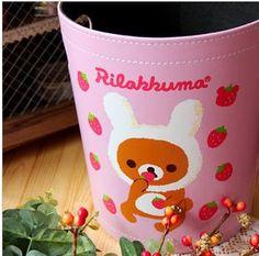 2012新款 Rilakkuma轻松熊 家用皮革垃圾桶杂物桶收纳桶纸篓-淘宝网