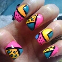 Blue orange magenta and black design nails